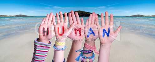Children Hands Building Word Human, Ocean Background