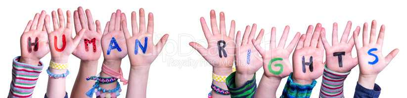 Children Hands Building Word Human Rights, Isolated Background