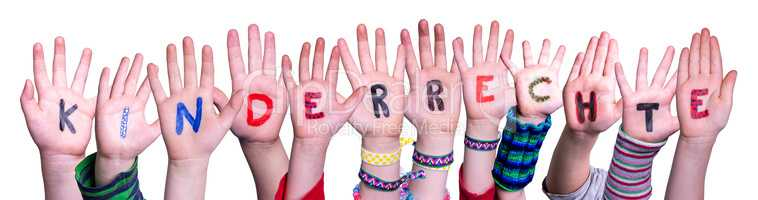 Children Hands Building Kinderrecht Means Children Rights, Isolated Background