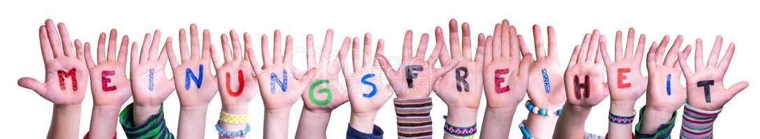 Children Hands, Meinungsfreiheit Means Freedom Of Opinion, Isolated Background