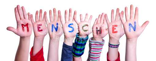Children Hands Building Word Menschen Means Human, Isolated Background