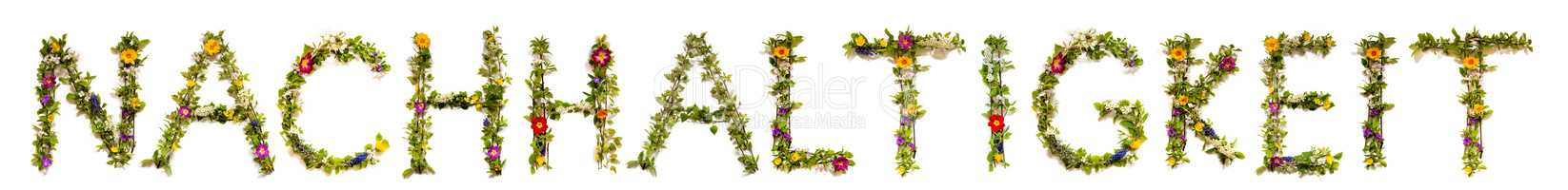 Flower And Blossom Letter Building Word Nachhaltigkeit Means Sustainability