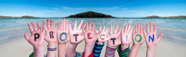 Kids Hands Holding Word Protection, Ocean Background