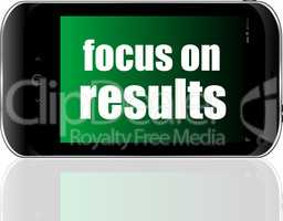 Life style concept. text focus on results . Detailed modern smart phone