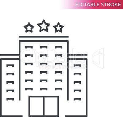 Hotel building thin line vector icon