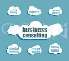 words business consulting. Management concept . Design with abstract speech bubble set