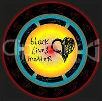 Black lives matter slogan. Hand drawn hearts. Anti racism and racial equality and tolerance banner. All lives matter. Social media template.