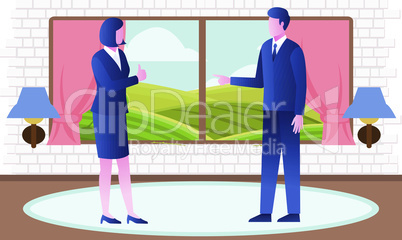 employees discuss on a project in office