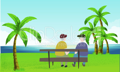 old couple sitting in a garden