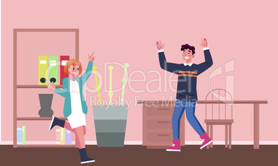 couple is dancing at home