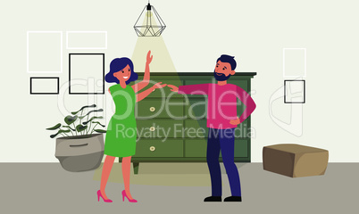 couple is dancing and loving in a room