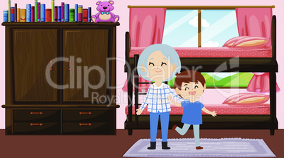 boy is playing with his grandmother at home