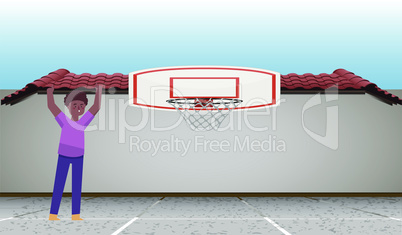 boy is playing in the basket ball court