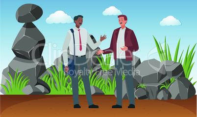 two businessman meeting behind the rock secretly