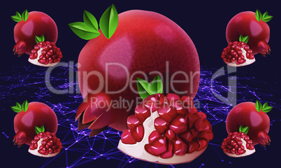 realistic pomegranate fruit on abstract background