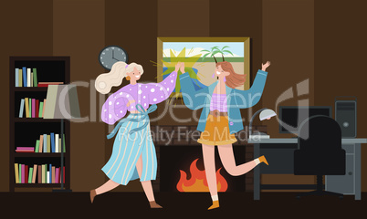 two girls are dancing at home