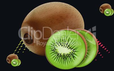 realistic kiwi fruit on abstract background
