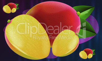 realistic mango fruit on abstract background