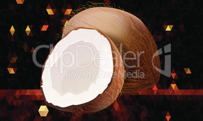 realistic coconut fruit on abstract background
