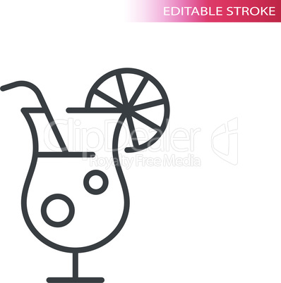 Cocktail or martini glass thin line vector icon