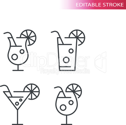 Cocktail glasses thin line vector icon set