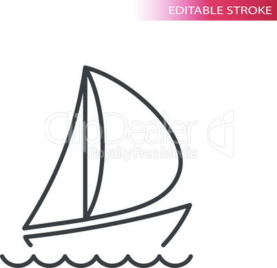 Boat or yacht thin line vector icon