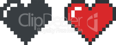 Pixel heart black and red vector icon