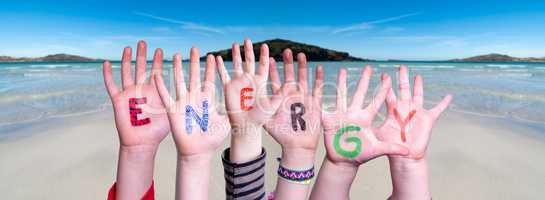 Children Hands Building Word Energy, Ocean Background