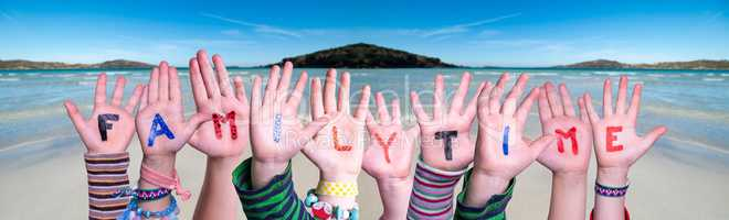 Children Hands Building Word Familytime, Ocean Background