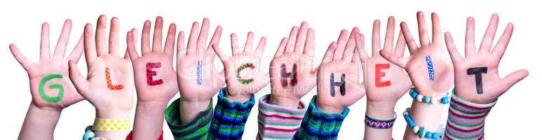 Children Hands Building Word Gleichheit Means Equality, Isolated Background
