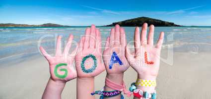 Children Hands Building Word Goal, Ocean Background
