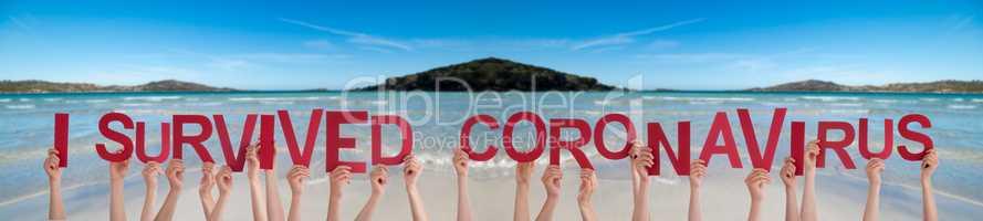 People Hands Holding Word I Survived Coronaviru, Ocean Background