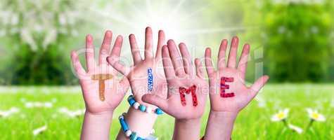 Children Hands Building Word Time, Grass Meadow