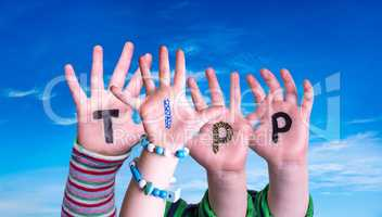 Children Hands Building Word Enter, Blue Sky