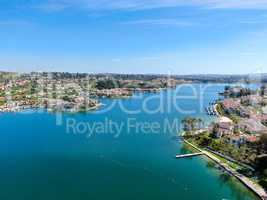 Aerial view of Lake Mission Viejo with private residential and condominium communities. California