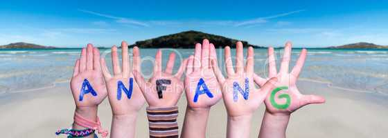 Children Hands Building Word Anfang Means Beginning, Ocean Background