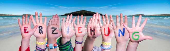 Children Hands Building Word Erziehung Means Education, Ocean Background