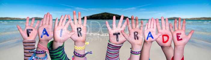 Children Hands Building Word Fair Trade, Ocean Background