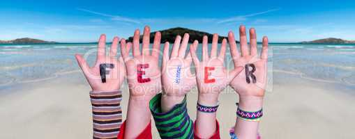 Children Hands Building Word Feier Means Celebration, Ocean Background
