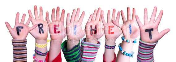 Children Hands Building Word Freiheit Means Freedom, Isolated Background