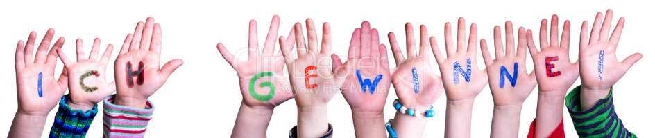 Children Hands Building Word Ich Gewinne Means I Am Winning, Isolated Background