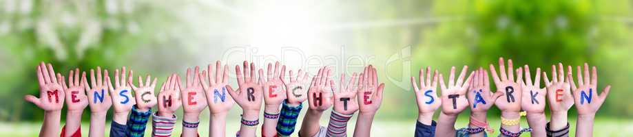 Children, Menschenrechte Staerken Means Strengthen Human Rights, Grass Meadow