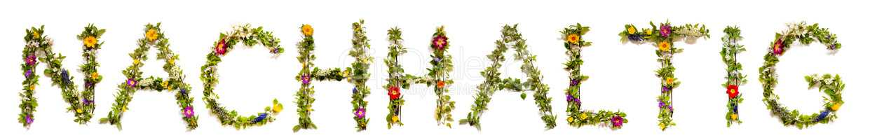 Flower And Blossom Letter Building Word Nachhaltig Means Sustainable