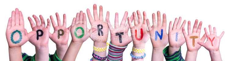 Children Hands Building Word Opportunity, Isolated Background