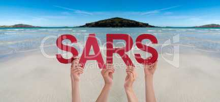 People Hands Holding Word SARS, Ocean Background