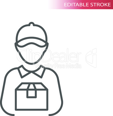 Delivery boy or man thin line vector icon