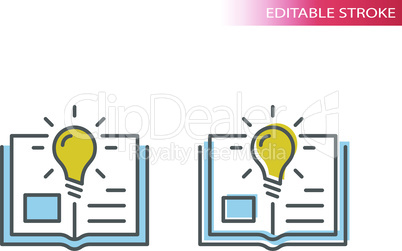 Light bulb and open book or textbook vector icon