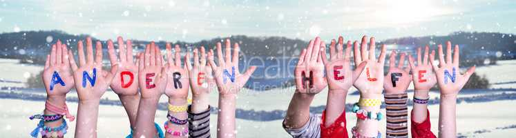 Kids Hands Holding Word Anderen Helfen Means Help Others, Winter Background