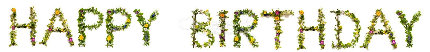 Flower And Blossom Letter Building Word Happy Birthday