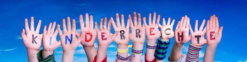 Children Hands Building Word Kinderrecht Means Children Rights, Blue Sky